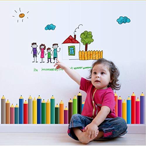Zfkdsd Farbe Graffiti Bleistift Wandaufkleber Für Kinderzimmer Kindergarten Kinder Vinyl Aufkleber Wandbilder Wohnkultur Selbstklebende Folie