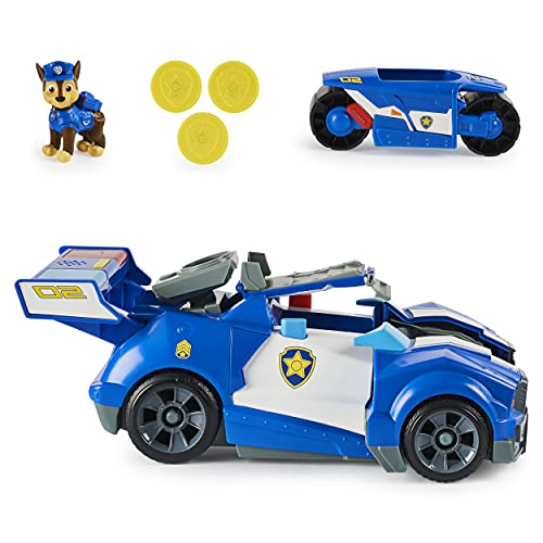 PAW Patrol Chase's 2 en 1 Transforming Movie City Cruiser Coche de Juguete con Motocicleta, Luces y Sonidos y Figura de acción Coleccionable, Juguetes para niños para niños de 3 años en adelante