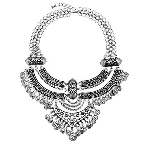 YAZILIND Mujer Collar Oro Tono Cadena Grueso Babero declaración Multi Strand Vintage étnico joyería Gargantilla