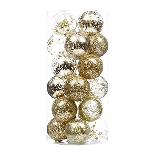 XmasExp Christmas Tree Ball Ornaments Decoration - Gold Basic Ball Shatterproof Stuffed Delicate Glittering for Holiday Wedding Xmas Party Decoration Tree,(24ct 70mm/2.76',Gold)