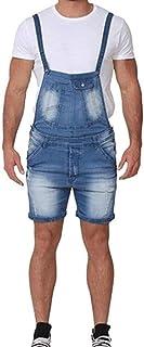 HaiDean Men's Jeans Dungarees Overall Modern Denim Latzshorts Casual Jumpsuit Short Lightwash Suspender Jeans Shorts Latzs...