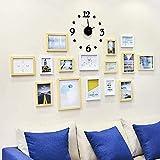 AYY 15 Sets Collage de Pintura de Pared Sala de Estar Marco de Imagen Fondo de Restaurante Creativo Decoración de la Pared, con Reloj de Pared Creativo y Plantilla Colgante, WoodWhite
