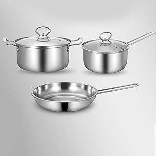 DSstyles 3pcs/Set Pot Stainless Steel Cookware of Frying Pan Milk Pot and Soup Pot Kitchen Utensil A