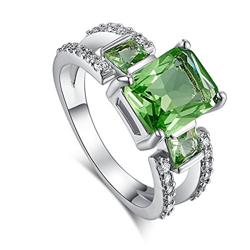 Narica Women's 925 Silver Plated 8mmx10mm Emerald Cut Green Amethyst CZ Wedding Engagement Ring Band Size 8