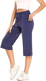 Aiegernle Women's Active Yoga Relax Lounge Capri Pants with Pockets