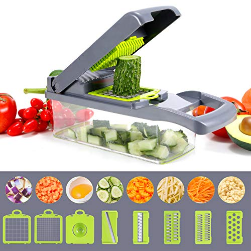 Vegetable Chopper, Multi-functional Onion Chopper, Veggie Chopper with 6 Stainless Steel Blades, 12 in 1 Vegetable Slicer with Container, Mandoline Slicer, Ideal for Fruits/Vegetables/Salads (Grey)