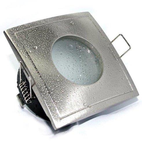 Aqua Square LED Feuchtraum IP65 Bad Badezimmerstrahler, geringe Einbautiefe, NUR 6cm, Dusche, 230V, 5 Watt Power LED Leuchtmittel in warmweiss inklusive
