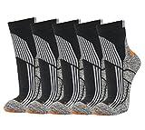 5 Paar Trekking Socken schwarz-orange 39-42
