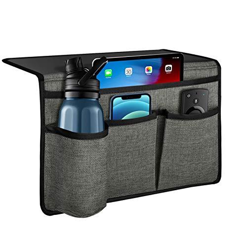 Naturoom - Organizador de cama con 4 bolsillos, organizador para mesita de noche, organizador para colgar debajo del colchón, soporte remoto para mesita de noche, color gris