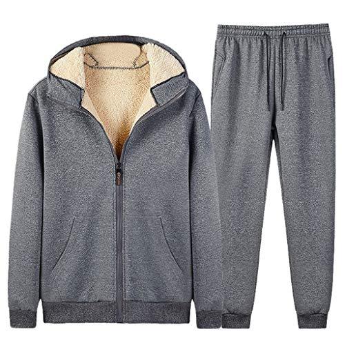 Dasongff Sweatjack met capuchon voor heren, lange mouwen, hoodie, sportstijl, casual, fitness, training, winterjas, vrije tijd, verdikte capuchonjas Large grijs