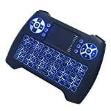 Calvas 3 Colors Backlight Air Mouse Wireless Remote Control for Smart TV Box T16 Universal QWERTY Mini Keyboard for PS3 Xbox Tablet PC - (Color: Black with Backlight)