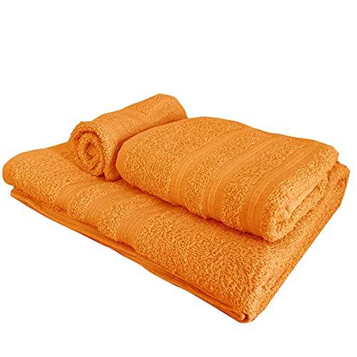 Set di asciugamani a 3 pezzi, 1 asciugamano da bagno (100x150), 1 asciugamano per le mani (55x105), 1 asciugamano bidet (40x60), 100% Cotone, asciugamani per Spa e Massaggi (Arancione)