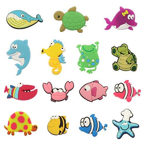 SOLUSTRE 15 imanes de silicona para frigorífico, diseño de peces 3D, dibujos animados de animales marinos, para la oficina, pizarra, armario, cocina o casa (patrón aleatorio)