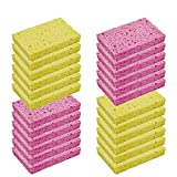 CELOX 24 Pack Kitchen Sponges, Non-Scratch Cellulose Dish Sponges, Natural Wood Pulp Cleaning Scrub Sponges for Dish Kitchen Bathroom, Absorbent, Flexible, DIY for Kids, 4.5' x 2.8' x 0.6'