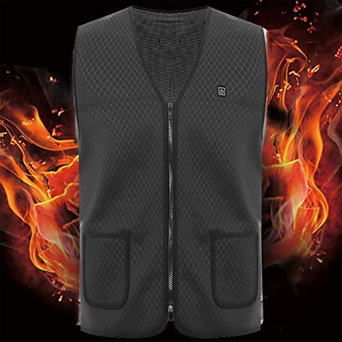 Chaleco de calefacción eléctrico, Fibra de carbono Ropa inteligente de ajuste de temperatura, USB recargable ligero chaqueta cálida, para deportes al aire libre de hombres y mujeres negro-3XL