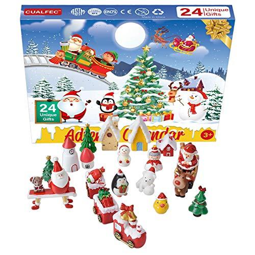 Cualfec Christmas Advent Calendar for Kids 24 Days Unique Gift Include Figures, Train, Christmas Tree, Houses 29 Pcs
