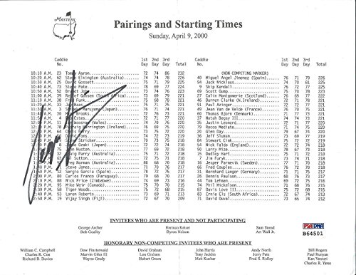 Save %36 Now! Sergio Garcia Signed Pairings and Starting Times Golf Tournament Sheet - PSA/DNA Certi...