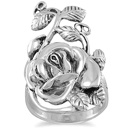 Ring av oxiderat sterlingsilver med rosensten, bladdesign, 18,5 mm x 32 mm, ringstorlekar: L till T e Sterling silver 925, 59 (18,8), cod. AIR357265SS