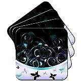 Lot de sous-verres à motif papillon et arabesques, Acrylique, Violet/bleu, 6 x Coaster
