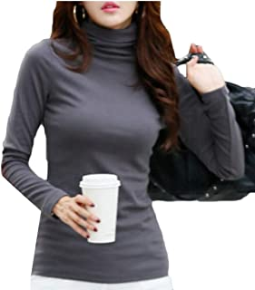 ZXFHZS Women's Casual Slim Fit High Neck Warm Basic Solid Color T-Shirt