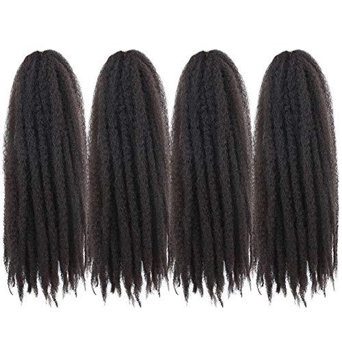 4 Packs Marley Hair Afro Kinky Curly Crochet Hair 18 Inch Long Marley Twist Braiding Hair Kanekalon Synthetic Marley Braids Hair Extensions for Women(4#)