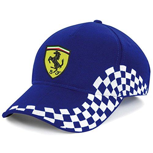 subla2017 Ferrari - Gorra de béisbol con logotipo bordado - K 080 azul