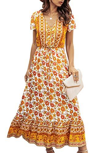 Spec4Y Maxikleid Damen Sommer Blumen Sommerkleider Lang Kleider Kurzarm V-Ausschnitt Strandkleider mit Kordelzug 194 Weiß Small