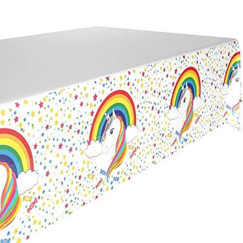 DIWULI, Tischdecke Einhorn Regenbogen, buntes Tischtuch, Unicorn Tafeldecke, süßes Tafeltuch, Tischwäsche, Kunststoff-Tischdecke für Geburtstag Deko, Mädchen Kindergeburtstag, Motto-Party, Dekoration