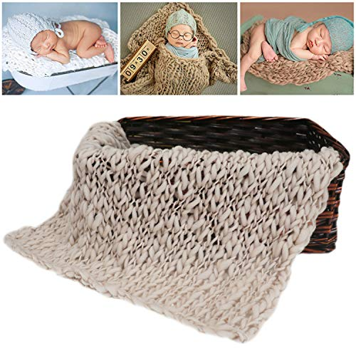 M&G House Newborn Wrap Baby Photography Wool Wrap Baby Photo Props Baskets Filler Rug Beige