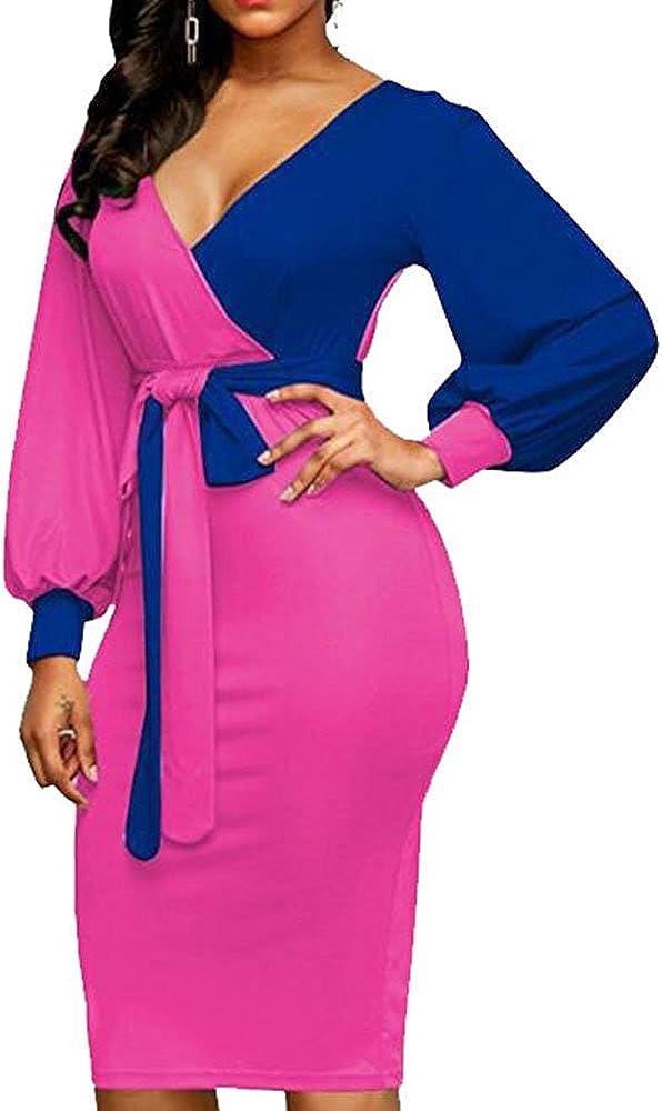 Womens Midi Bodycon Dress Sexy Deep V Neck Vogue Slim Skirt Dress with Belt
