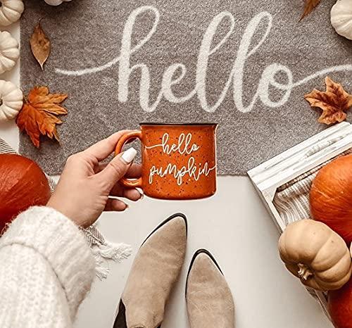 Mimi&Tone Hello Pumpkin Kaffeetasse Porzellan XL, Große Tasse Keramik (400ml), Groß, Lieblingstasse, Emailletasse, Jumbotasse, Geschenk XXL Emaille Steingut Kaffeebecher Tumblr Deko Geschenkideen