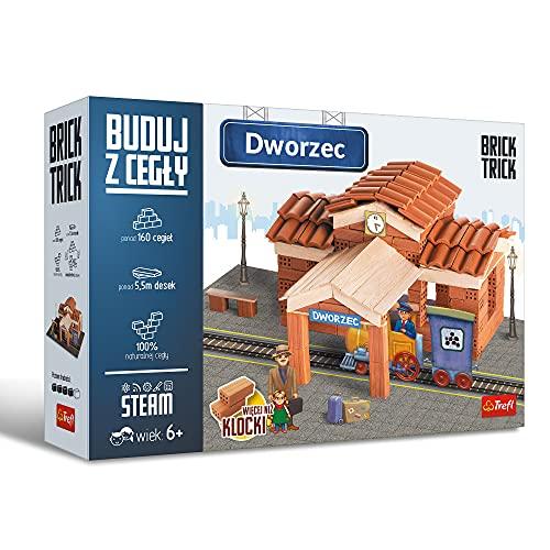 Trefl Brick Trick Buduj z Cegły – Dworzec, Prawdziwa Cegła, Ponad 160 Cegieł, Klocki Wielokrotnego Użytku, Dla Fanów Budowania, DIY, Zestaw Kreatywny dla Dzieci od 6 Lat