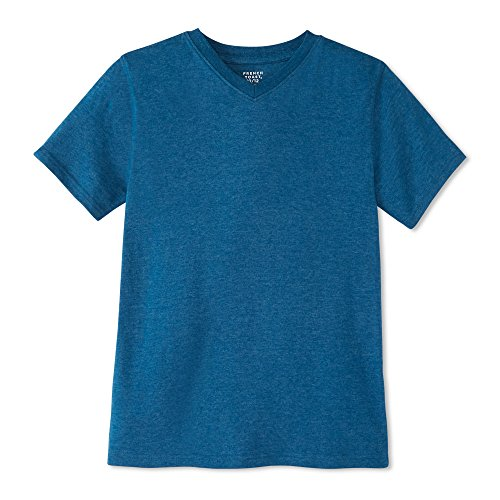 French Toast Boys' Big Short Sleeve V-Neck Tee, Rush of Blue Heather, XL (14/16)