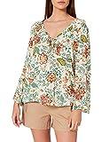 Springfield Blusa Estampada Escote Volante Camisa, Beige/Camel, 34 para Mujer