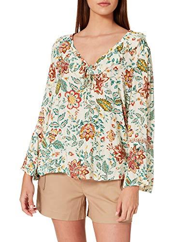 Springfield Blusa Estampada Escote Volante Camisa, Beige/Camel, 44 para Mujer