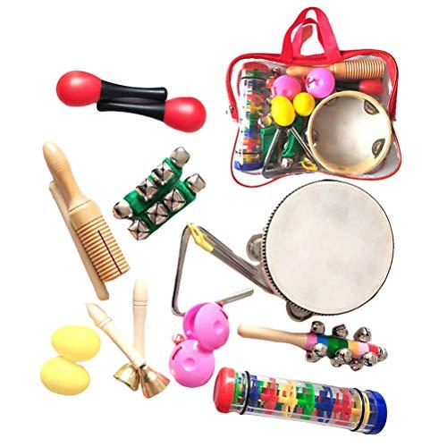 BakaKa Juego de percusión de Mano de 16 Piezas con Bolsa de Transporte Instrumentos Musicales educativos de Metal de plástico de Madera para niños