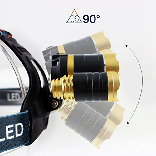 3000 Lumen Scheinwerfer, Taschenlampe 3 XM-L T6 LED, Wand-Ladegerät und der Akku, Wandern, Camping, Reiten, Angeln, Jagen, Outdoor-Abenteuer. - 2
