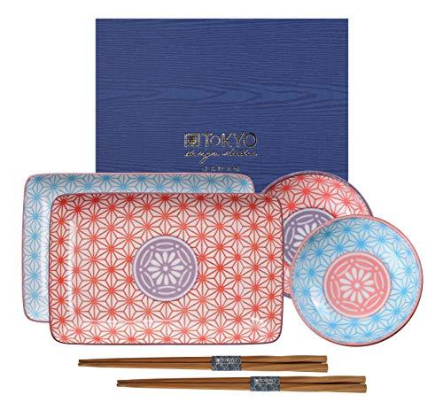 TOKYO design studio Star Wave Sushi-Set bunt, 6-TLG, 2X Sushi-Platten 2X Saucen-Schalen, 2X Essstäbchen, asiatisches Porzellan, Japanisches Design, inkl. Geschenk-Verpackung