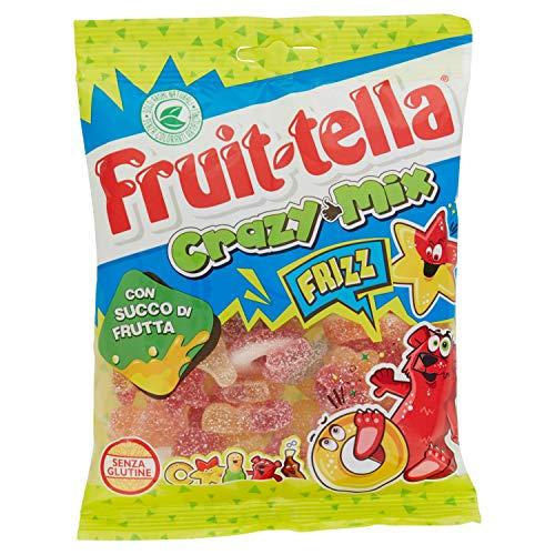 Fruittella Crazy Mix Frizz Caramelle Gommose, Gusto Frutti Assortiti Frizzanti con Succo di Frutta, senza Glutine, Formato Busta da 175 g