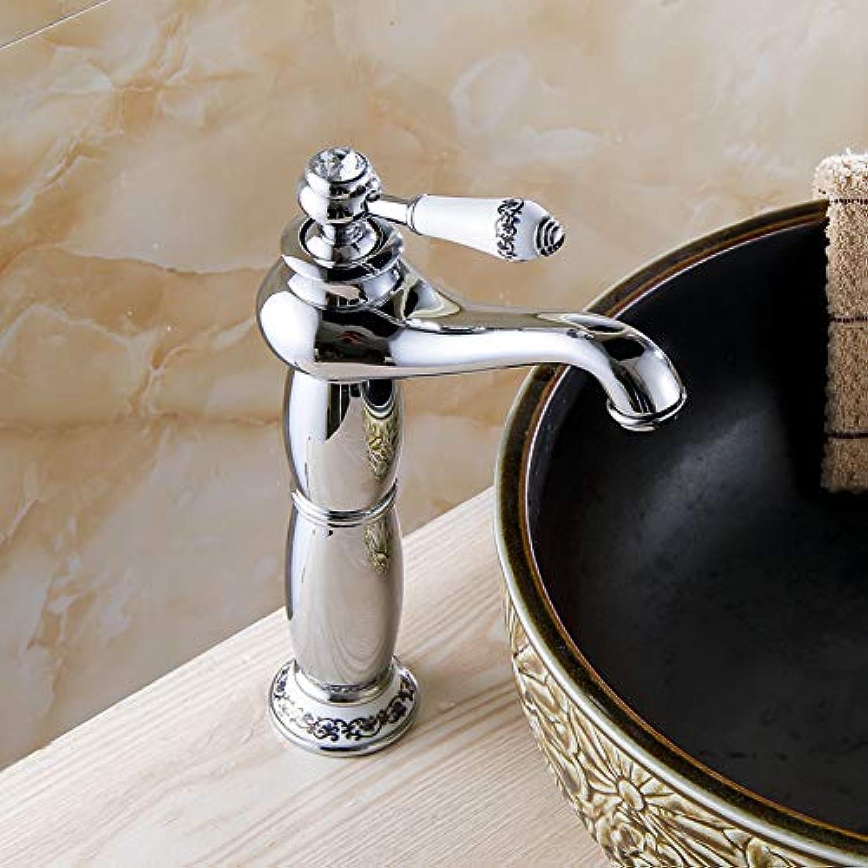 ZHFJGKR&ZL Becken Wasserhahn Messing Chrom Silber Waschbecken Wasserhahn Einhand Keramik Bad Deck Warm Kaltmischer Wasserhahn Kran