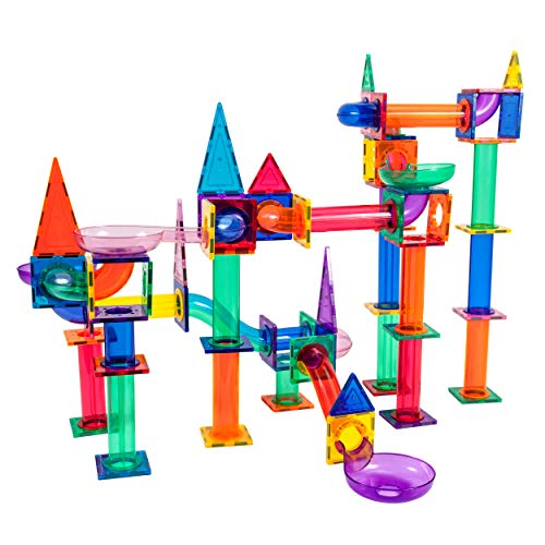 PicassoTiles Marble Run 150-Piece Magnetic Tile Race Track Toy Play Set STEM Building & Learning Educational Magnet Construction Kit Child Brain Development Toys Boys Girls Age 3 4 5 6 7 8+ Years Old