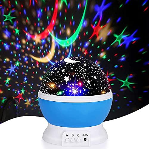 YUEBAOBEI Proyector Bebes Luces, 360° Rotación Lampara Proyector Infantil, Proyector Estrellas Techo con 8 Modos Iluminación, para Dormitorio Habitación Niños Fiesta En Casa