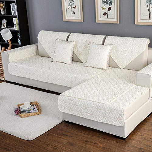 YUTJK Funda de Asiento de Tela,Fundas de sofá de Oficina Toallas de Brazo Reversibles Alfombrillas de sofá Bordadas de algodón Cada Pieza se Vende por Separado-White_70 * 120cm
