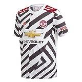 adidas Manchester United Temporada 2020/21 MUFC 3 JSY Y Camiseta Tercera equipación, Niño, Blanco/Negro, 128
