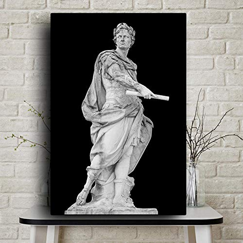 Glxbooc Black and White Roman Emperor Julius Sculpture Caesar Statue Poster and Prints Canvas Painting Wall Art Pictures Home Decoration50x70cm-No Frame