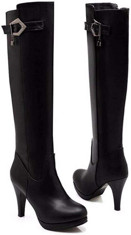 Hoxekle Women Over The Knee Boots Buckle Slip On High Thin Heel Platform Female Winter Warm Sexy Elegant Long Boots