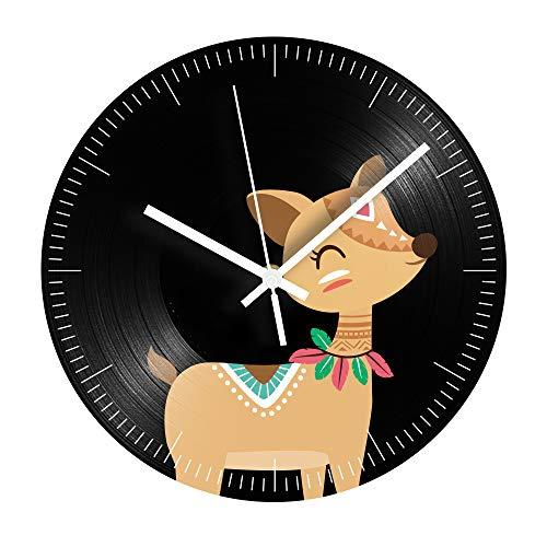 HHKLSF Reloj De Registro Decorativo De Animales De Dibujos Animados Ciervo Silencioso...