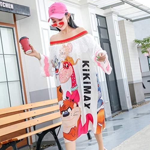 CHWK Diseño Sentido del Vestido Pequeño Falda De La Marca De La Marea Tailandesa Femenina Nueva Industria Pesada Dibujos Animados Costura Encaje Palabra Hombro, Blanco, Talla Única