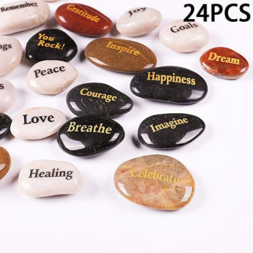 RockImpact 24 Stück Steine mit Spruch Glück Gravierte Steine Gravur Inspirierende Steine Glücksbringer Ermutigung Dankbarkeit Geschenk Glückssteine (Großhandel, Verschiedene Sprüche, je 5-8 cm)
