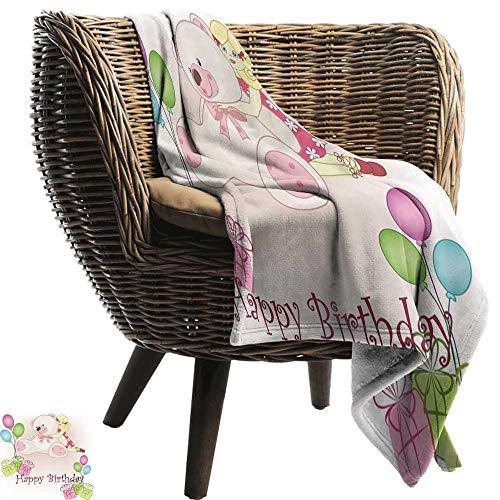 ZSUO dikke gebreide deken Kinderen Verjaardag, Baby Koe Dier en Kleurrijke Ballonnen op Abstract Polka Dot Backdrop Print Multi kleuren Gezellige en Duurzame Stof-Machine Wasbaar